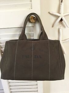 PRADA Canapa Militare Tote Bag Canvas Green Used Vintage