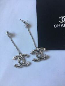Chanel Silver Tone Dangle Drop Chain Earrings VIP Gift,Not used!!!