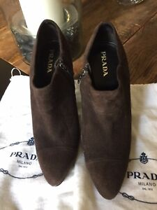 PRADA CHOCOLATE SUEDE PLATFORM ANKLE BOOT