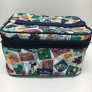 Vera Bradley Lighten Up Brush Up Cosmetic Case Cuban Stamps NWT