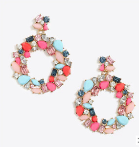 J. Crew Factory NWT Rainbow Wreath Statement Earrings Colorful Cocktail Festive