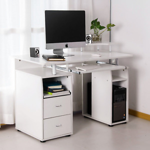 Merax Classic Home Office White Computer Desk with Pull-Out Keyboard Tray Drawer