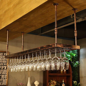 80x35CM Wrought Iron Bar Wine Glass Holder Hanging Rack Cabinet Display Shelf