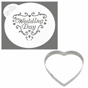 The Stencil House Wedding Day Heart Cookie Cutter and Stencil Set