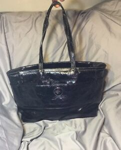 COACH STITCHED SIGNATURE PATENT LEATHER LARGE DIAPER BAG PURSE F17940 BLACK $498