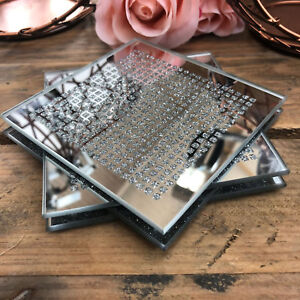 Rhinestone Sparkle Mirrored Glass Drinks Wine Coffee Mug Cup Table Mats Coasters