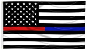 Thin Blue Line and Thin Red Line Dual American Flag 3 x 5 ft with Grommets