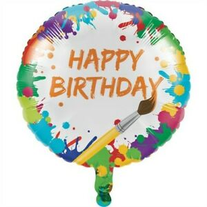 Art Party Happy Birthday Foil Balloon 18 Inch Painting Paint Birthday Decoration