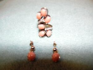 GEORGEOUS 14 K CORALDIAMOND COCKTAIL RINGMATCHING CORAL 14K EARRINGS  SIZE  7