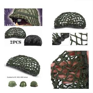 Tactical Camouflage Accessories Helmet Net Cover 2pcs M1 Army Green + Black For