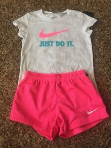 NWT Nike Girls Outfit Running Athletic Shorts T-shirt  Pink White Gray Size 6X