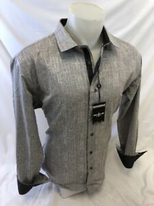 Mens BARABAS Designer Shirt SILVER SOLID GRAY TRIM Button Up CLASSIC FIT B5303