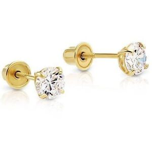Genuine 14K Solid Yellow Gold 0.50 Carat Round Brilliant Diamond Stud Earrings