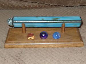 MARBLE KALEIDOSCOPE GLASS KALEIDOSCOPE WITH WOOD STAND