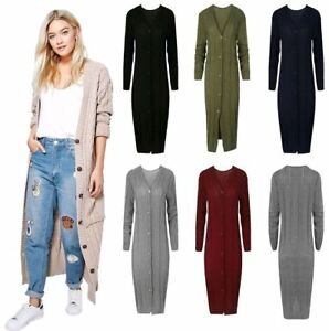 Womens 6 Button Cable Knitted V Neck Long Cardigan Ladies Long Sleeve Cardigan