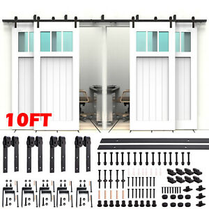 6/8/10FT Steel Sliding Barn Door Rollers Hardware Track Kit Double Wood Closet