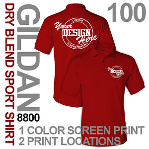 100 Custom Screen Printed Polo Style Sports Shirts 1 Color Print - 2 Locations