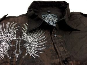 ROAR Mens Brown GODLIGHT Edition Shirt Long Sleeve Embroidered Design Size XL
