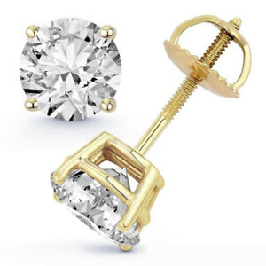 1.02 ct Round Cut Natural GSI1 Diamond Certified Stud Earrings 14K Yellow Gold