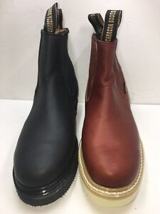 Mens Work Boots light Pull On Leather Brown Black oil slip resistant Ankle Boot