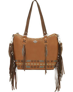 Authentic American West Leather Mohican Melody Bucket Tote HandBag Tan