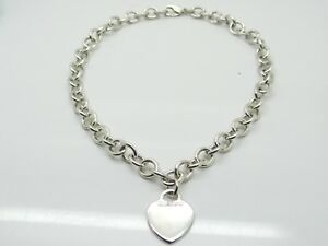Tiffany & Co. Sterling 925 Silver Heart Charm With Rolo Chain 16