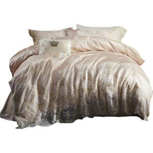 Embroidered lace bedding set duvet cover pure cotton bed cover wedding bed sheet