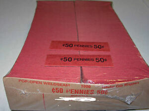1000 PENNIES COIN OLD STYLE FLAT WRAPPERS