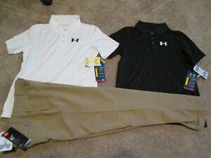 NEW Boys Under Armour 3Pc OUTFIT 2 Golf Polos+Khaki Slacks Ymd 10-12 FREE SHIP!