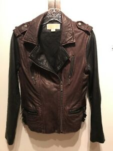 MICHAEL KORS WOMENS BURGUNDY BLACK LEATHER MOTO BOMBER JACKET PM