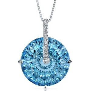 14 Kt White Gold 21 cts Swiss Blue Topaz and Diamond Pendant 18quot;