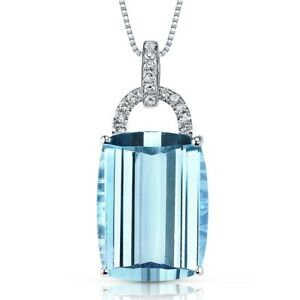 14 Kt White Gold 14 cts Swiss Blue Topaz and Diamond Pendant 18quot;