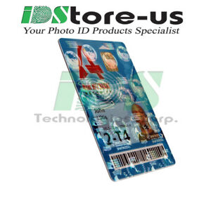 Full Color Custom Printed ID cards PVC w Globes Holographic Overlay Varnish