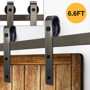 6.6 White Sliding Barn Door Hardware Track Kit Antique Door Hardware Roller Set