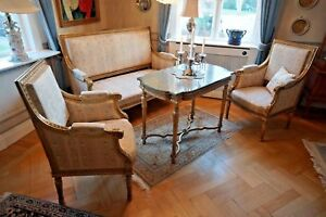 Louis Seize 1700 8 chairs and a sofa with table