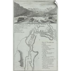 Wall Decal entitled Historical map and vignette of Lake George in New York state