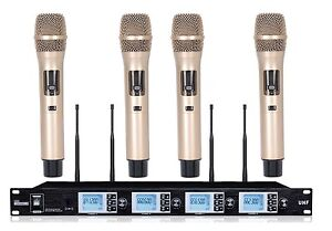 4 Channel Wireless Microphone Karaoke Microphone System 4 Golden Color Handheld