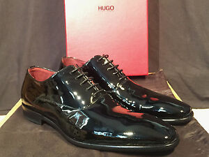 HUGO BOSS DESIGNER MEN'S BLACK PATENT LEATHER LACE UP DRESS SHOES!!! SIZE 9.5
