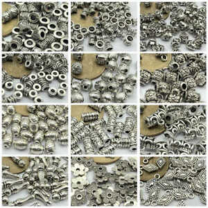 50pcs Tibetan Silver Metal Alloy Charms Loose Spacer Beads Jewelry Making DIY $1.99