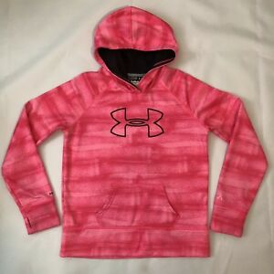 Under Armour Girl Youth XL Pullover Hoodie Fleece Lined Breast Cancer Hot Pink $15.29