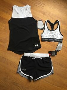 Under Armour Kids Girls Youth Small Shorts Tanktop & Sports Bra Outfit NWT