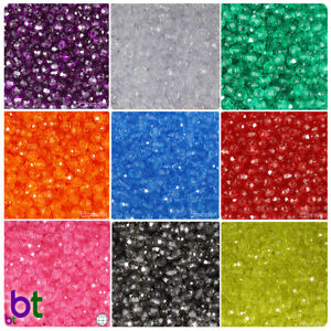 BeadTin Transparent 6mm Faceted Round Craft Beads 750pcs Color choice $2.79