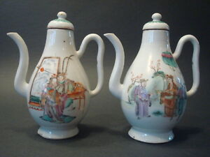 Antique Chinese  Famille Rose Teapots Qianlong period late 18th C
