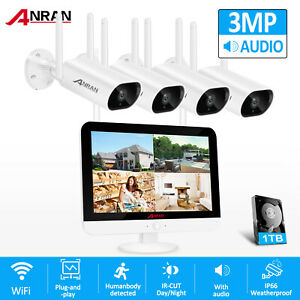 "ANRAN 1080P Home Security Camera System Outdoor Wireless 1TB HDD 4CH 7"" Monitor"