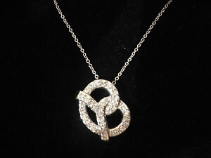 Cute Floating Big Pretzel .36 ct Diamond 5g 14k White Gold Pendant Necklace 18