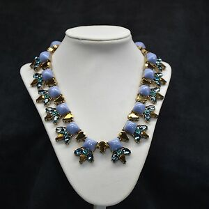 Crystal Statement J Necklace Blue Water Drop Crew Style 18K Plated Jewelry