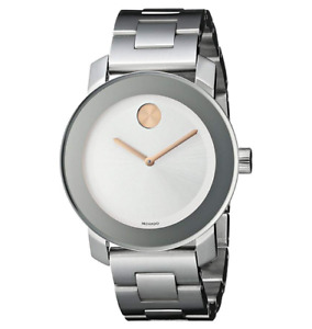 NEW Movado Bold Rose Crystal Dot Silver Tone Bracelet 3600084 36mm Swiss Watch