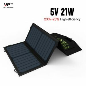 ALLPOWERS 5V21W  Portable Foldable Solar Panel Phone Charger Dual USB Output
