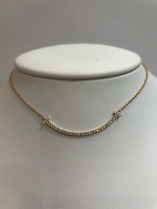 Tiffany and Co. Rose Gold T Smile Pendant Necklace with Diamonds