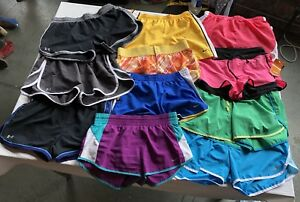 LOT OF 11 WOMAN'S ATHLETIC SHORTS NIKE DRI-FIT SM W14-14.5 UNDER ARMOUR ECT EUC